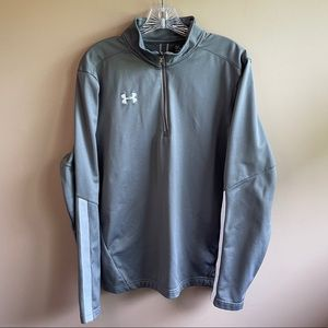 Under Armour Loose Fit Quarter Zip, Gray, Large